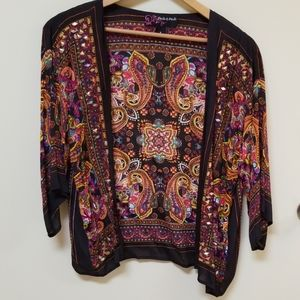 Peck and Peck jacket colorful with gold accents